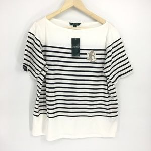 Lauren Ralph Lauren Striped Boat Neck Logo Top